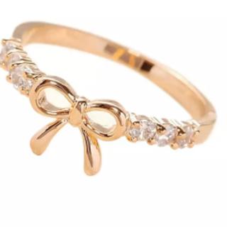 リボンリング リボンモチーフリングゴールド色(リング(指輪))