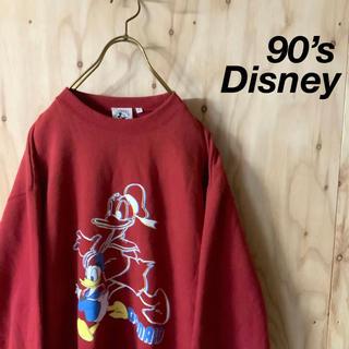 Disney - 【美品】90's MICKEY&CO ドナルドプリント スウェット バーガンディ