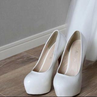 ブライダルシューズウエディング シューズヒール15センチ15cmヒール白結婚式(ドレス/ビジネス)