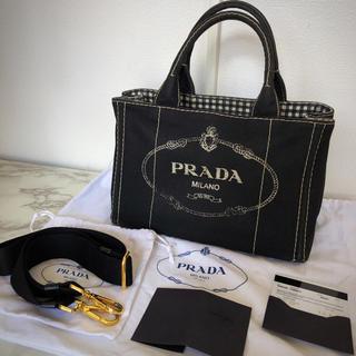 PRADA - カナパ ギンガムチェック ショルダー 黒色