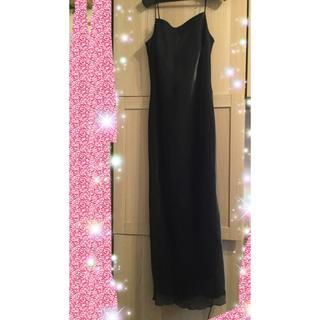 【美品】黒ドレス ロングキャミドレス ハロウィン お呼ばれ 魔女 コスプレ