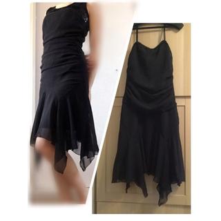 【美品】黒ドレス シフォン お呼ばれ パーティー 二次会 夜のお仕事