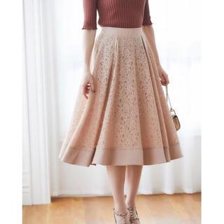 tocco - 可愛い秋を先取るロマンティックフラワーレースミディ丈フレアスカート 新品