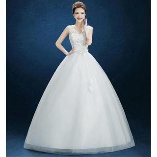 激安ウエディングドレス 二次会 花嫁ロングドレス 白