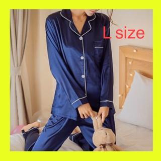 【大人気!シルク風パジャマ】❤セットアップ❤ネイビー L