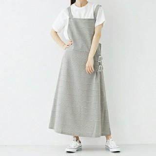 merlot - サイドベルト チェック ジャンパー スカート