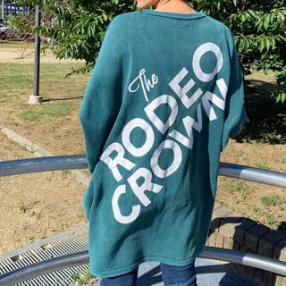 ロデオクラウンズワイドボウル(RODEO CROWNS WIDE BOWL)のロデオ★加工ニット ワンピース/GRN(ミニワンピース)