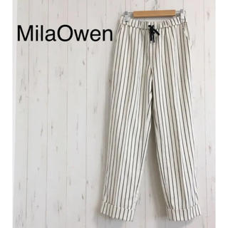 ミラオーウェン(Mila Owen)のMilaOwen ストライプウエストゴムワイドパンツ S(カジュアルパンツ)