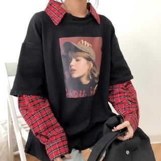 重ね着風 チェック シャツ オーバーサイズ  長袖 秋冬 レトロ 韓国 tj6(Tシャツ(長袖/七分))