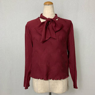 ●S392 used tie ribbon pleats tops(カットソー(長袖/七分))
