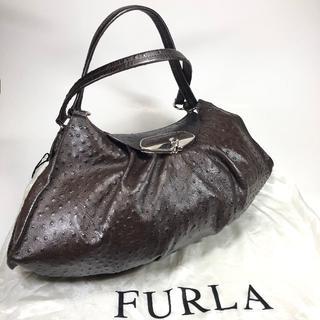 Furla - 【美品】フルラ 型押し加工レザー ショルダー ダークブラウン 保存袋付
