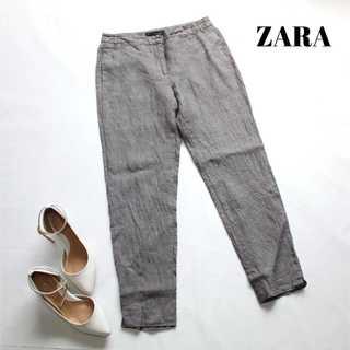 ザラ(ZARA)のザラ ★リネン素材 さらさらテーパードパンツ 34 グレー 夏素材♪麻(カジュアルパンツ)