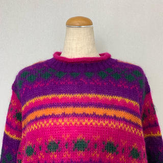 ●S397 italy used colorful knit tops(ニット/セーター)