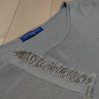 ライトオン(Right-on)のライトオン裾袖フリンジトップスMベージュ茶色(カットソー(長袖/七分))