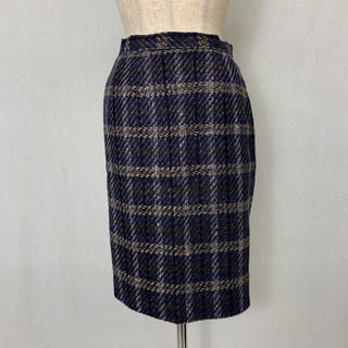 ●S402 used checked skirt(ひざ丈スカート)