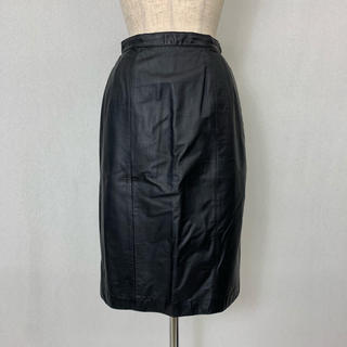 ●S403 used real leather skirt(ひざ丈スカート)