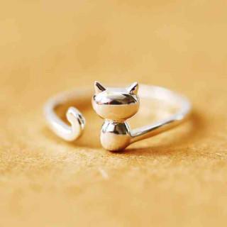 猫 リング シルバー 指輪 レディース ねこ アクセサリー S925 サイズ調整(リング(指輪))