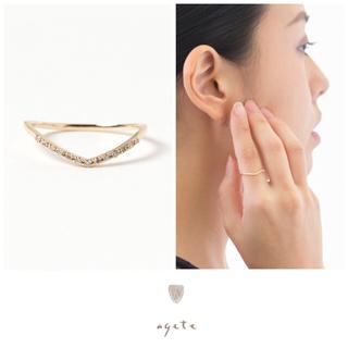 アガット(agete)のagete♡Vライン♡K18♡ダイヤモンドハーフエタニティリング♡アガット(リング(指輪))
