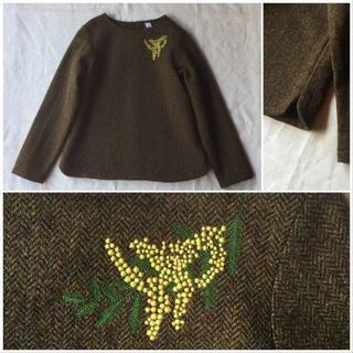 ネストローブ(nest Robe)の【極美品】atelier naruse ミモザの刺繍のウールスモックブラウス(ニット/セーター)