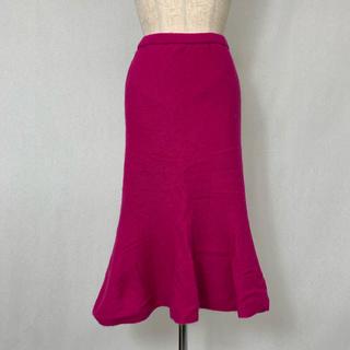 ●S407 used shocking pink angoramix skirt(ロングスカート)