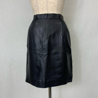 ●S409 used real leather skirt(ひざ丈スカート)