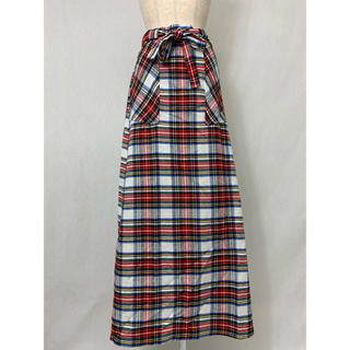 ●S410 used checked wrap long skirt(ロングスカート)