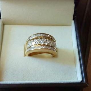 天然ダイヤモンドリング K18  デザインリング(リング(指輪))