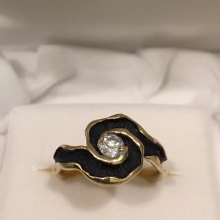 百貨店購入 K18 1粒ダイヤ デザインリング(リング(指輪))
