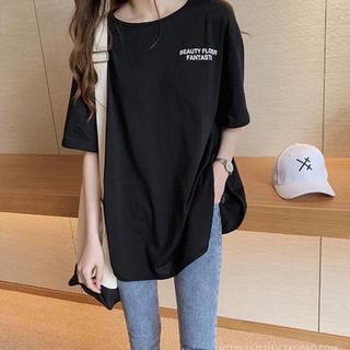 ビッグ Tシャツ 黒 ビッグシルエット カットソー レディース(Tシャツ(半袖/袖なし))