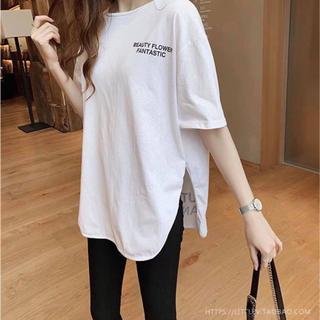ビッグ Tシャツ 白 ビッグシルエット カットソー レディース(Tシャツ(半袖/袖なし))