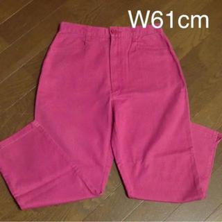 W61cm クロップドパンツ ピンク色(クロップドパンツ)