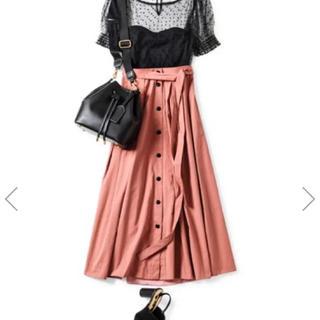 ココディール(COCO DEAL)の美品!cocodeal フロントドット釦タックフレアスカート(ロングスカート)