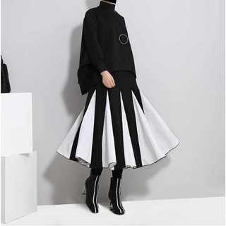 【LONDA】バイカラーフレアスカート(E-219)(ロングスカート)