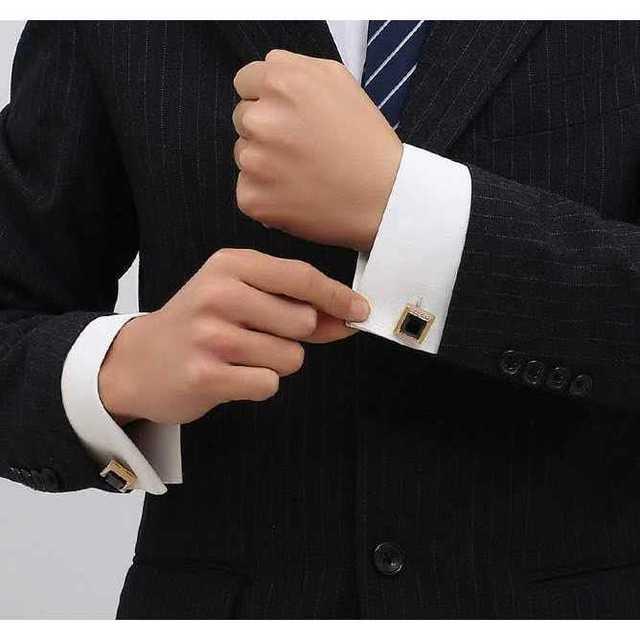 【ブラック 角型 カフスボタン】カフス タイピン ネクタイピン ネクタイ メンズのファッション小物(カフリンクス)の商品写真