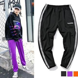 韓国ファッション ブロックチェック ライン スウェット パンツ(その他)