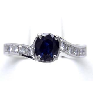 お値引き不可 PT900 天然 サファイア ダイヤ リング(リング(指輪))