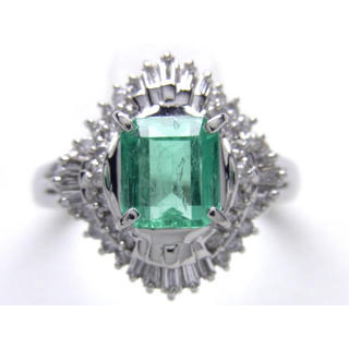お値引き不可 PT900 天然 エメラルド ダイヤ リング(リング(指輪))
