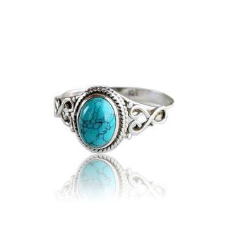 ターコイズ リング 指輪 かわいいおしゃれ アンティーク アクセサリー 7~8号(リング(指輪))
