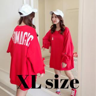 カットソー 袖リボン 長袖 薄手 韓国 オルチャン レッド XLサイズ(カットソー(長袖/七分))