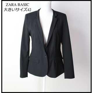 ザラ(ZARA)のザラ★大きいサイズ 42(LL位) ストレッチ テーラードジャケット 黒(テーラードジャケット)