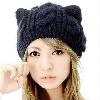 かわいい 猫耳 編み込み ニット帽 あったか レディース イエロー キャット(ニット帽/ビーニー)
