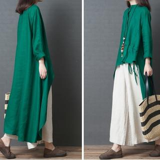 【即購入OK】大きいサイズ バンドカラーアシメントリーシャツ(シャツ/ブラウス(長袖/七分))