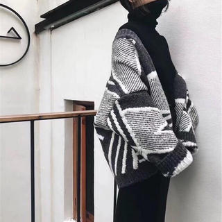 秋冬物 プリント ウール ストール セーター 厚手 コート