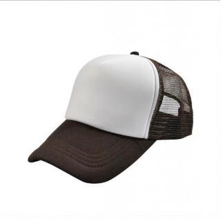 激安!無地メッシュキャップ 深さもあり形がいい 帽子 CAP ホワイト×ブラウン