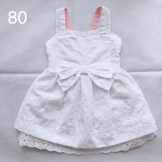 西松屋 - 西松屋 CHEROKEE ワンピース ホワイト ベビー 女の子 80