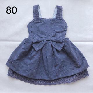 西松屋 - 西松屋 CHEROKEE ワンピース ネイビー ベビー 女の子 80