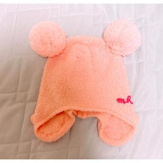 ミキハウス(mikihouse)の【最低価格】ミキハウスピンクポンポン付きニット帽耳当て有り(帽子)