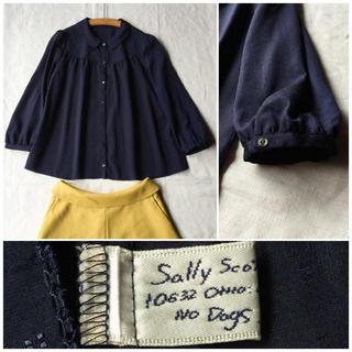 mina perhonen - 【美品】Sally Scott スクエアドットの丸襟ヨークギャザーブラウス L