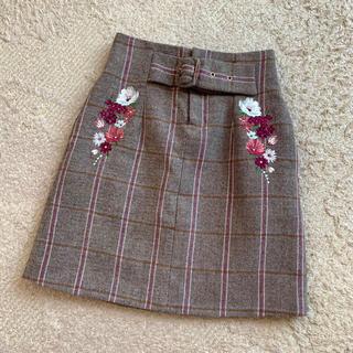 JILL by JILLSTUART - JILL by JILL STUART ジルバイ チェック 刺繍 スカート