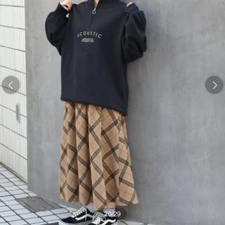 ダブルクローゼット(w closet)のタグ付き新品未使用✨ダブルクローゼット 起毛チェック フレアスカート(ロングスカート)